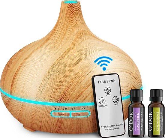 O'dor® Aroma Diffuser - Afstandsbediening - met Extra Lavendel + Lemongrass Etherische Olie - Hout Look