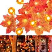 Esdoornbladeren | Pompoen | PVC | Herfst decoratie | LED slinger | 3 meter | 20 LEDS | Herfst, Halloween, Kerstmis | Binnen en Buiten | Waterdicht