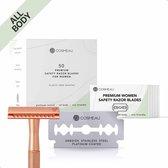 Cosmeau Safety Razor Blades voor Vrouwen Alle Lichaamsdelen - 50 Stuks Safety Razor Scheermesjes Mesjes voor Bamboozy Safety Razors - Platinum - Zero Waste