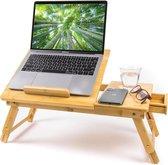 Budu Laptoptafel - Bedtafel - Banktafel - Laptoptafel verstelbaar - Laptoptafeltje Bamboe hout - Laptopstandaard - Ontbijttafel - Ontbijt op bed