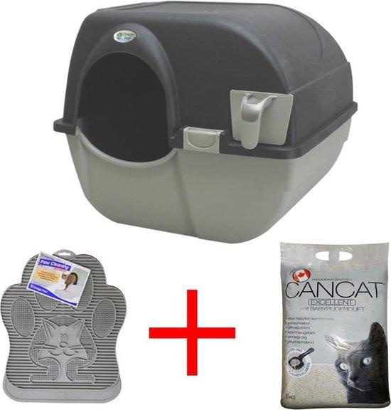 Omega Paw Zelfreinigende Kattenbak - L - zwart - incl. kattenbakmat + 8kg kattenbakvulling