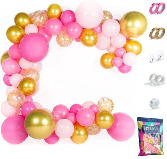 Fissaly® Pastel Ballonnenboog Roze & Goud – Ballonboog Feest Decoratie Versiering – Verjaardag - Helium, Latex & Confetti Ballonnen Boog