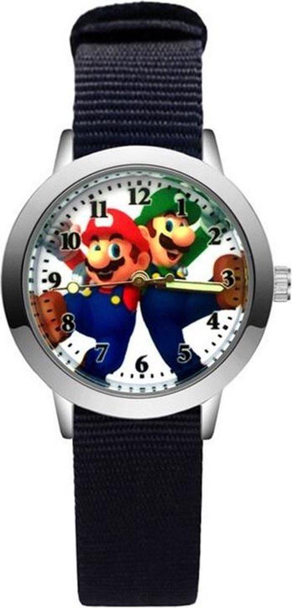 Super Mario - Kinderhorloge - Mario - Horloge - Mario Kart - Mario Speelgoed - Zwart