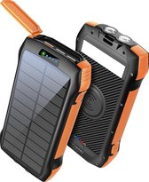Lucky One - Powerbank - 33500 mAh - Draadloos Opladen - Iphone en Samsung - Zaklamp - Solar Powerbank - USB-C - Zwart | Oranje