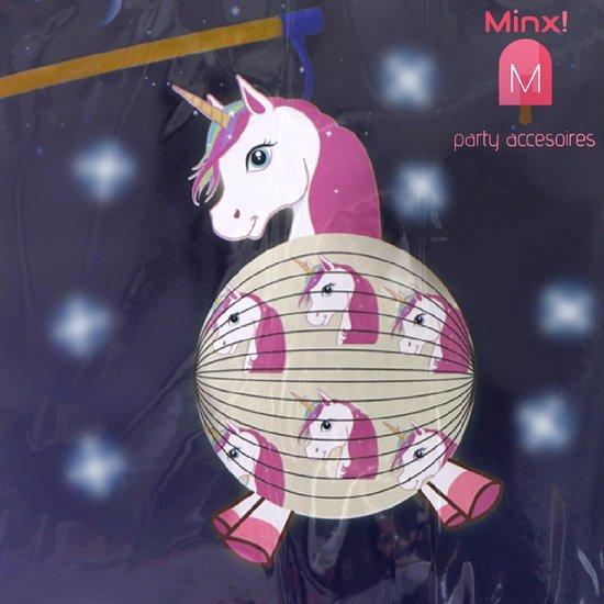 Eenhoorn Lampion - Unicorn - Roze/Wit - 250-365mm - Unicorn Ballon - Voor meisje - Verjaardag Ballon - Feest Ballon - Eenhoorn - Sint maarten