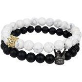 AWEMOZ Natuursteen Armbanden - Kronen Kralen Armbandjes - Zwart/Wit - Armband Dames - Armband Heren