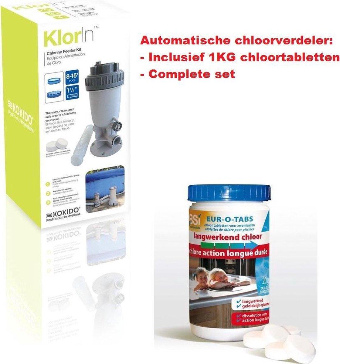 Kokido Automatische Chloor doseersluis - Chloor verdeler - Chloor dispenser - Chloordrijver - Inclusief Chloortabletten