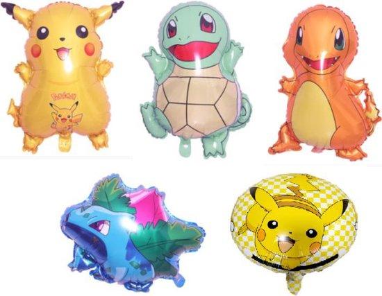 Pokemon ballonnen - XL - Set van 5 - Folie ballonnen - Pikachu - Charmander - Ivysaur - Squirtle - Pikachu rond - Helium - Pokemon Go - Leeg - Versiering - Thema feest - Ballonnen - Pokemon