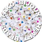 Fako Bijoux® - Letterkralen Rond - Hartjes Kralen - Acryl - Sieraden Maken - 7mm - 250 Stuks - Regenboog