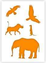 QBIX Afrikaanse Dieren Sjabloon A5 Formaat Kunststof - Wrattenzwijn is 5,3cm breed