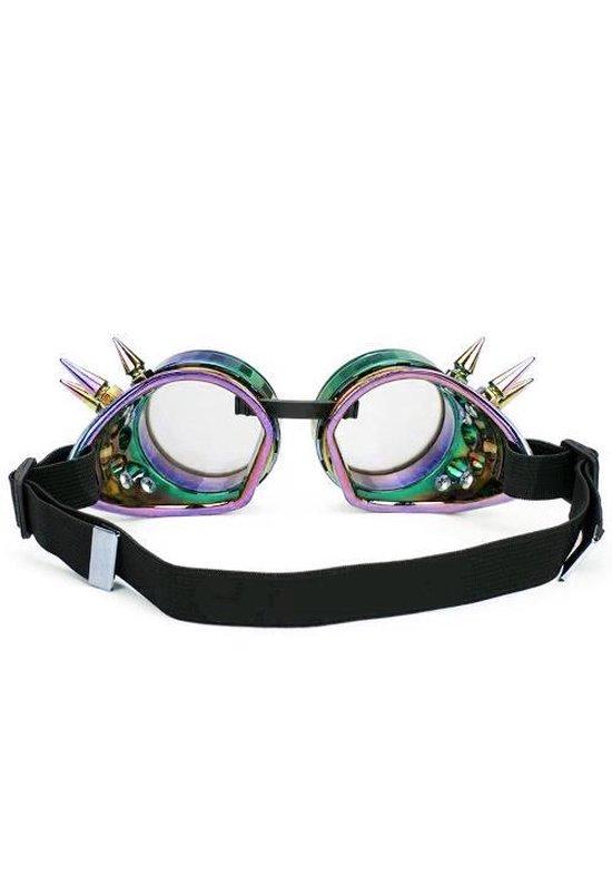 Steampunk bril goggles misty space - oliekleuren spikes regenboog rave