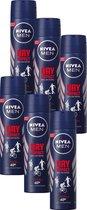NIVEA MEN Dry Impact Deodorant Spray - 6 x 150 ml - Voordeelverpakking