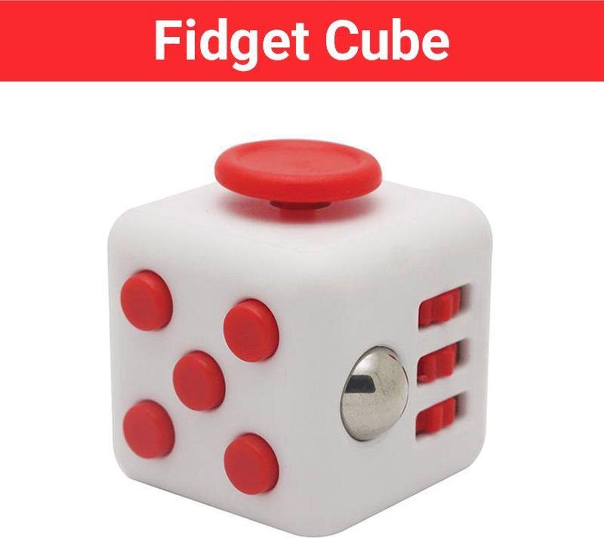 """Fidget Cube """"Wit-Rood"""" - Fidgets - Anti Stress Speelgoed Meisjes - HSP - Hooggevoeligheid"""
