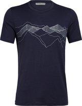 Icebreaker Tech Lite Peak Patterns Crew Top T-shirt Heren, midnight navy