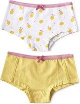 Little Label - meisjes - onderbroek - 2 stuks - wit citroenen, geel - maat 158/164 - bio-katoen