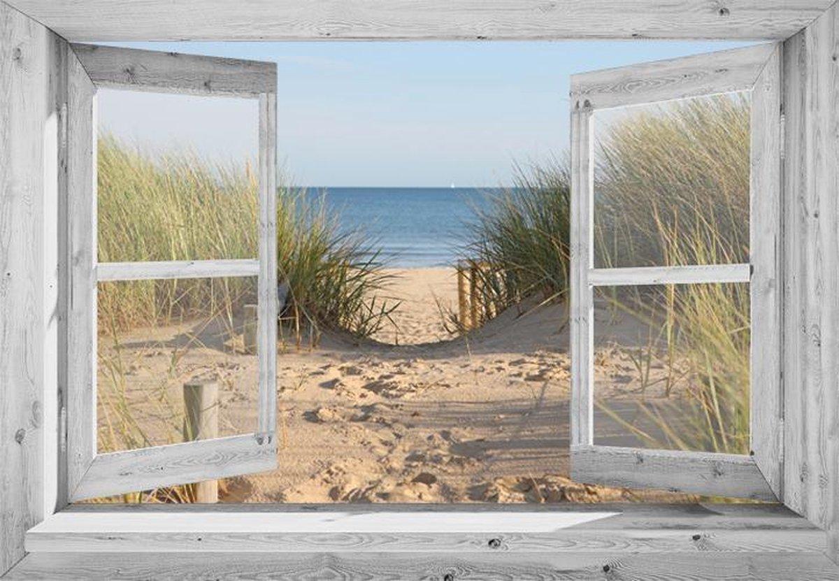 Tuindoek doorkijk door openslaand wit venster met Hollandse duinovergang - 130x95 cm - tuinposter -