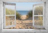 Tuindoek doorkijk door openslaand wit venster met Hollandse duinovergang - 130x95 cm - tuinposter - tuin decoratie - tuinposters buiten - tuinschilderij
