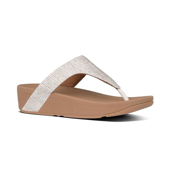 Fitflop™ Lottie Glitter Stripe Toe-thongs Polyester Stone - Maat 42 nG7e0G