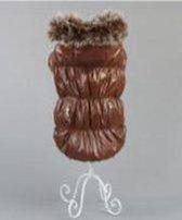 Jas gevoerd met bontkraag in de kleur bruin glanzend