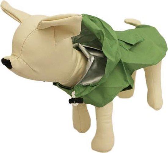 Honden regenpak groen - S ( rug lengte 21 cm, borst omvang 38 cm, nek omvang 31 cm )