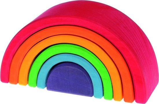 Houten Regenboog medium 6 delig pastel kleuren Grimm's