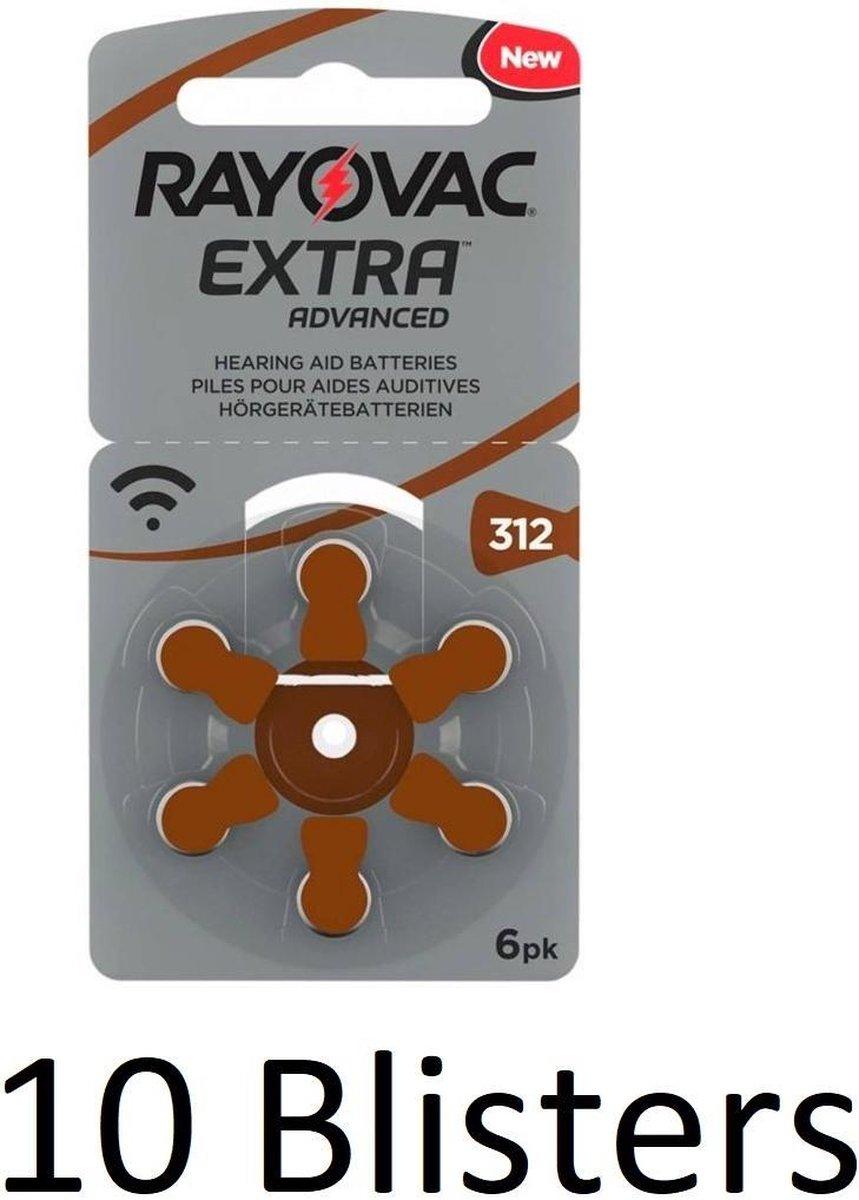60 Stuks (10 Blisters a 6 st) Rayovac Extra Advanced, 312 - bruin   hoortoestel