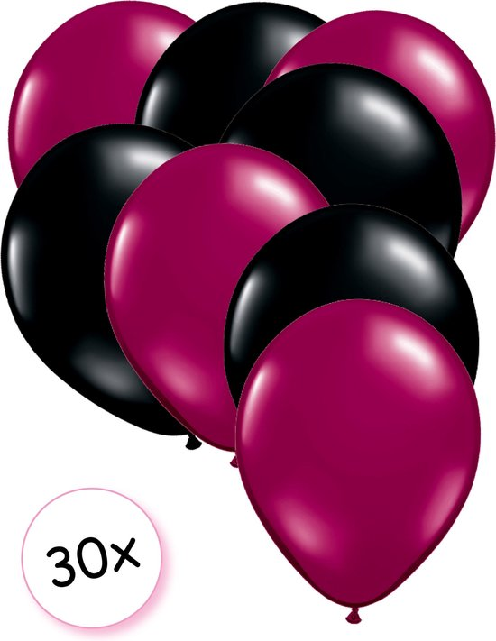 Ballonnen Fuchsia & Zwart 30 stuks 27 cm