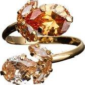 Goud Ring met Blad Swarovski® Kristal