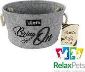 RelaxPets -  Opbergmand - Organizer - Let's - Speelgoed opbergmand - Let's bring it on - Vilt - Recyclet Polyester - Grijs - 36x20cm
