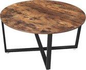 MIRA Home Salontafel - Ronde tafel - Metalen Frame - Hout - Bruin/Zwart - 88x88x47