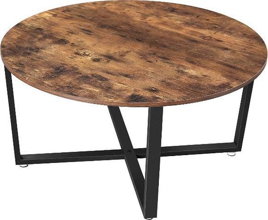 MIRA Home - Salontafel - Ronde tafel - Vintage - Industrieel - Metalen Frame - Hout - Bruin/Zwart - 88x88x47