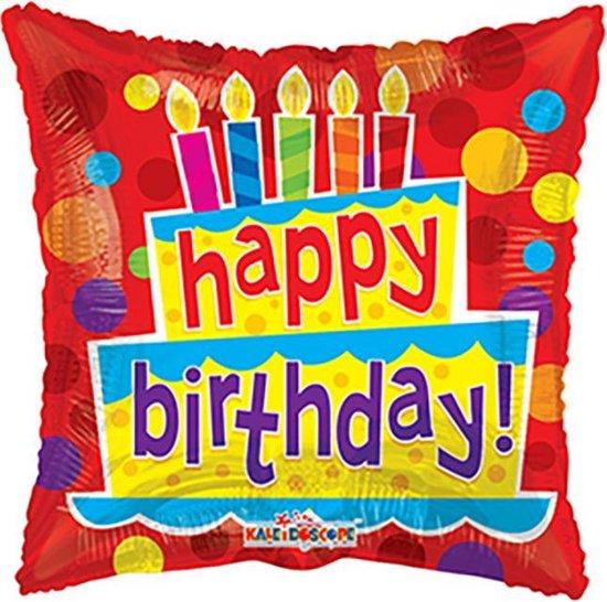 Helium Ballon Happy Birthday Taart Vierkant 45cm leeg