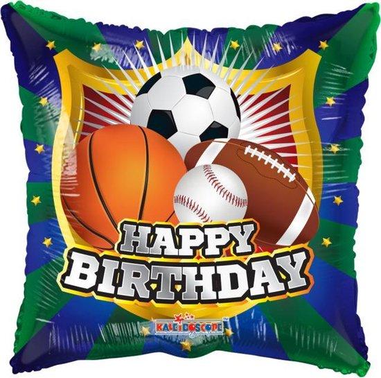 Helium Ballon Vierkant Happy Birthday Sport 45cm leeg
