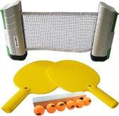 Tafeltennis Pingpong Set 2 kunststof batjes + oprolbaar Tafeltennis Net + 6 ballen
