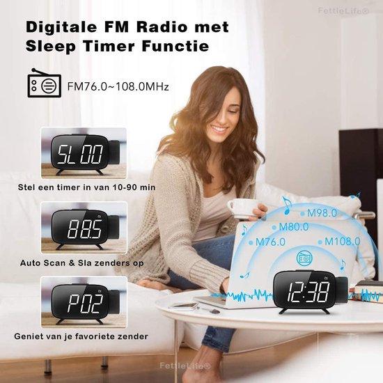 PROX20 Wekkerradio met Projectie Klok - Digitale Wekker Slaapkamer - Projectieklok Digitaal met Oplader (Zwart)