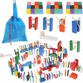 XL Gekleurde Houten Dominostenen Set - Met 360 Domino Stenen & 43 Elementen - Dominoset 407-Delig