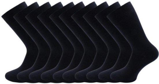 10 paar Herensokken - 100% Katoen - Naadloos - zwart - Maat 39-42