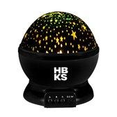 HBKS Happy Dreams Sterren Projector   Galaxy Projectie   Star Light   Sterrenhemel Snoezellamp   Slaaptrainer Baby   Nachtlampje Kinderen   Speelgoed Jongens en Meisjes   Projectorlampen   Babyprojectors   Zwart