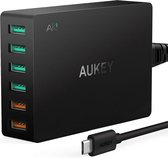 AUKEY PA-T11 Quick Charge 3.0 6-poorts USB-wandlader, 60 W USB-laadstation Compatibel met Samsung Galaxy Note8, iPhone 11/11 Pro / Max, iPad Pro / Air, LG, Nexus, HTC en meer
