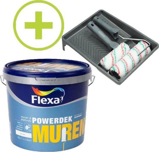 Flexa Powerdek Muurverf - 10L - Muren & Plafonds - 9010 + Muurverfset 5-delig