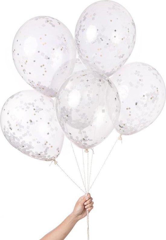 Knot & Bow   Confetti Ballon Mix   Wit Metallic   6 stuks