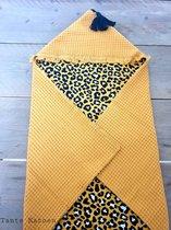 Wikkeldoek Yellow Leopard - Wikkeldeken - Omslagdoek - Baby Wrapper - babydeken - Baby badcape met capuchon - Babywrapper - Wrapping - Wrapper - Kraamcadeau - Babyshower