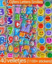 Stickers 40 Vellen Cijfers Letters Smilies voor Kinderen   3D Foam BeloningsStickers Jongens Meisjes   King Mungo KMST008
