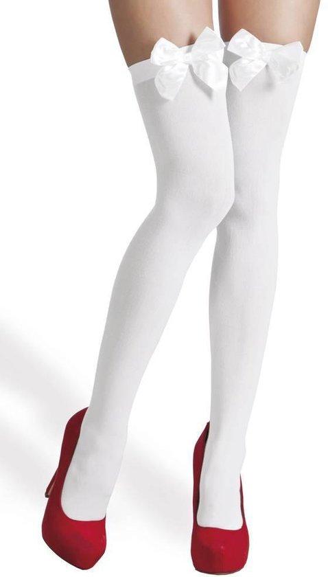 Witte Kousen met strik 2 stuks - Merkloos