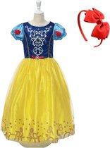 Sneeuwwitje jurk Prinsessen jurk sprookje verkleedjurk 104-110 (110) met broche + rode haarband verkleedkleding