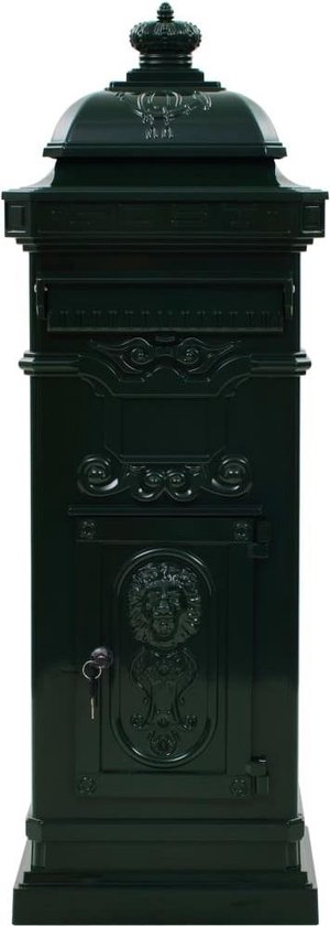 vidaXL Pilaar brievenbus vintage stijl roestbestendig aluminium groen