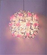 Funnylight Vrolijk zilver Hanglamp - pastel roze bloemen - kinderlamp