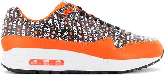 Nike Air Max 1 Premium - Just Do It - Heren Sneakers Sportschoenen Schoenen Zwart-Oranje 875844-008 - Maat EU 42 US 8.5
