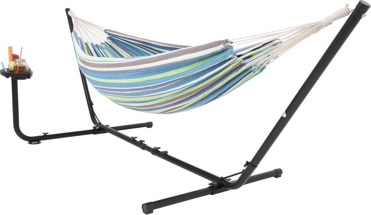 Hangmat met Standaard 2 Persoons met Bekerhouder - Groen / Blauw VITA5