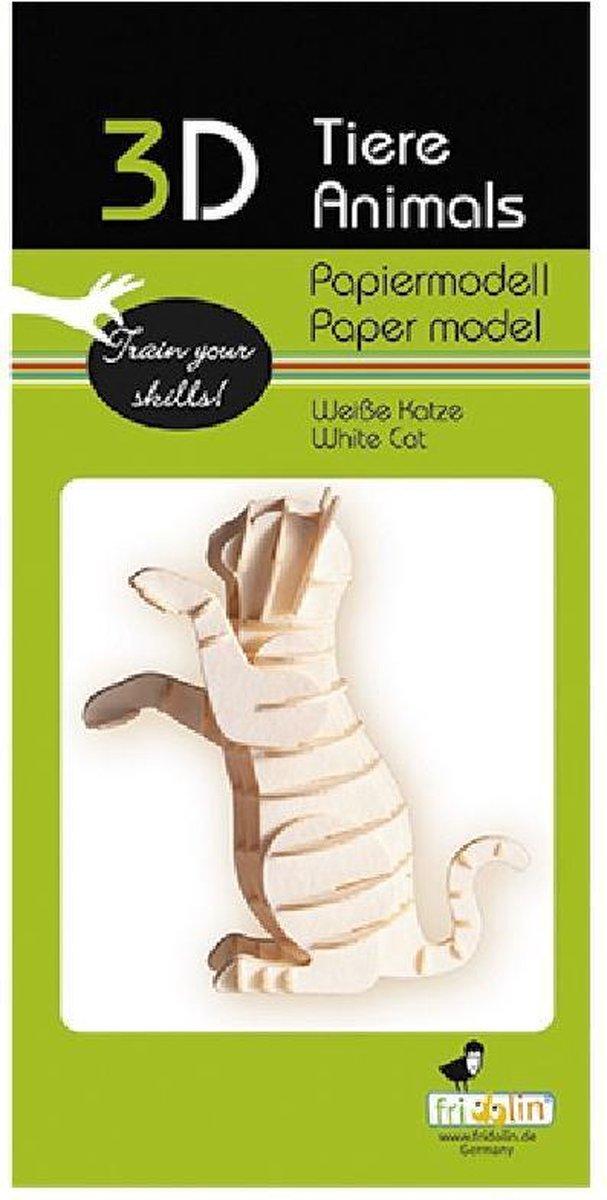3D puzzel en bouwpakket witte kat van karton